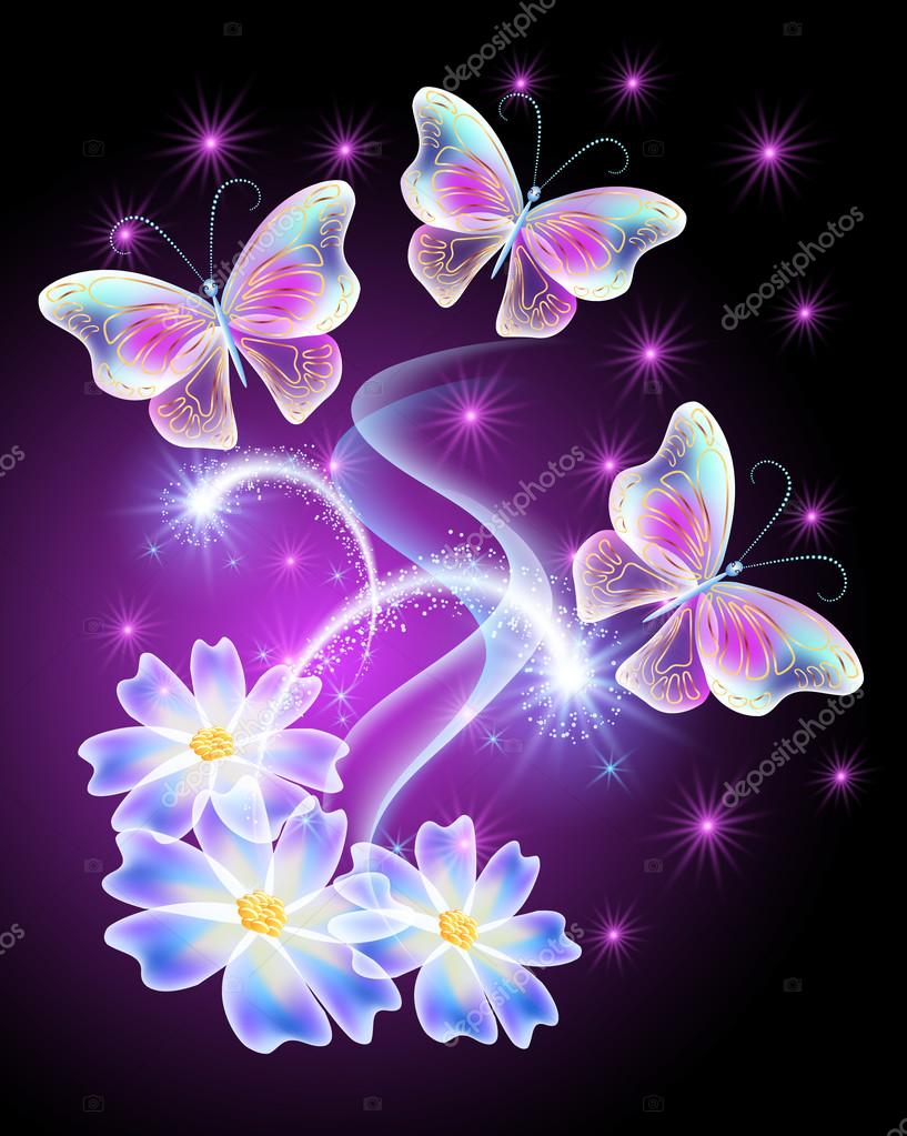 Neon butterflies with flowers with and stars — Stock