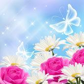 çiçekler ve kelebekler — Stok fotoğraf