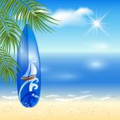 Blue surfboard on the sea background — Stock Vector