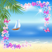 Sandy beach with palm trees, flowers frame and Sailing boat   — Stock Vector
