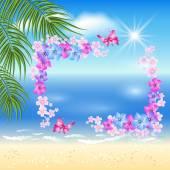 Spiaggia di sabbia con palme e fiori — Vettoriale Stock
