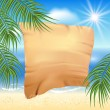 Sandy beach with palm trees and papyrus — Stock Vector #53602749