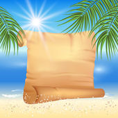 Sandy beach with palm trees and papyrus — Stockvector