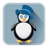 Platt avatar med pingvin i hatt — Stockvektor