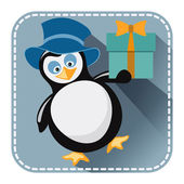 Flat avatar with penguin in blue hat and gift box  — Stock Vector