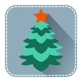 Flat avatar with Christmas fur tree   — Stockvektor