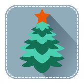 Flat avatar with Christmas fur tree   — Stockvector