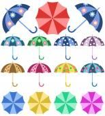 Set opened colorful umbrellas rain — Vettoriale Stock