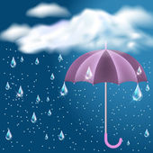 Clouds with rain and opened umbrella — Stock Vector