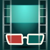 3d glasses with luminous screen and film strip — Stock Vector