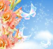 Gladiolus blossom and butterflies — Stock Photo
