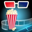 3d glasses with popcorn and film strip — Stock Vector #57314109