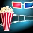 Package with popcorn with film strip and 3d glasses — Stock Vector #57314163