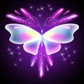 Butterfly and glowing salute — Vector de stock