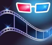 3d glasses and film strip — Stock Vector