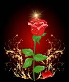 Golden ornament wth rose — Stock Vector