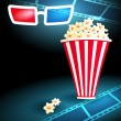 3d glasses with popcorn and film strip — Stock Vector #59577395