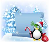 Penguin with Christmas candy in the forest — Stock Vector