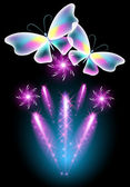 Butterfly and glowing salute — Vettoriale Stock