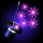 Conjurer hat with sparkle fireworks — Stock Vector
