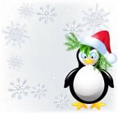 Amusing  penguin with Santa Claus hat  — Stock Vector
