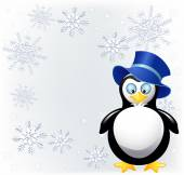 Amusing  penguin with cylinder hat   — Stock Vector