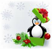 Penguin in the Christmas gift box — Stock Vector
