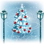 Christmas fur tree and vintage streetlamp — Stock Vector #60395521