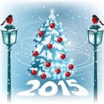 Christmas vintage streetlamp on the evening landscape background — Stock Vector #60395653