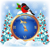 Christmas chimes with bullfinch   — Stockvector
