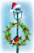 Lantern with Christmas wreath and bullfinch — Stock Vector