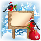 Christmas wooden signboard with bullfinches and gift bag — Stock vektor
