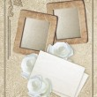 Grunge frame with roses and paper — Stock Photo #62789455