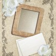 Grunge frame with roses and paper — Stock Photo #62789489