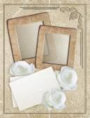 Grunge çerçeve gül ve kağıt — Stok fotoğraf