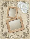 Grunge frame with roses — Stock Photo