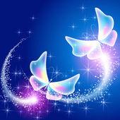 蝶と輝く花火 — ストックベクタ