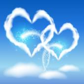 Two cloud hearts — Stock Vector