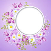 Photo frame and floral ornament — Stock Vector