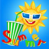 Fun sun and cool drink — Stock Vector