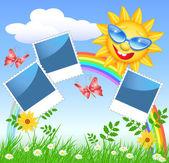 戴着眼镜,相框的微笑太阳 — 图库矢量图片