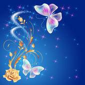 黄金の飾りと輝く firewor 透明な蝶 — ストックベクタ