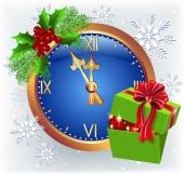 Christmas chimes and gift box — Stock Vector