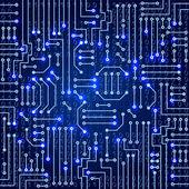 Drawing modern electronic circuit — Stock Vector