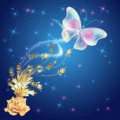 金饰品与发光烟花透明蝴蝶 — 图库矢量图片