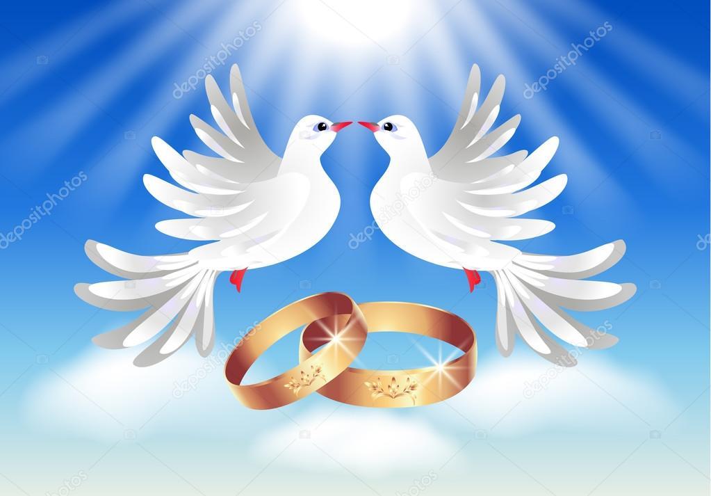 Carte avec anneaux de mariage et deux Colombes — Image vectorielle ...