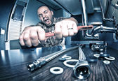 Angry plumber — Stock Photo