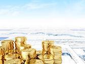 Golden bitcoin — Stockfoto