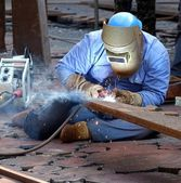 Welder Using the Shielded Metal Arc Process — Stock Photo