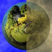 Clean Earth Versus Polluted Earth — Stock Photo